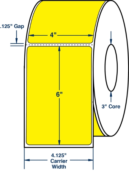 "Compulabel 520383 4"" x 6"" Pantone Yellow Direct Thermal Labels"