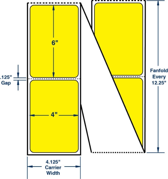 """Compulabel 520152 4"""" x 6"""" Pantone Yellow Fanfold Direct Thermal Labels"""