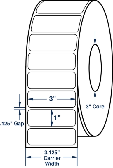 """Compulabel 623035 3"""" x 1"""" Non-Perforated Thermal Transfer Labels"""