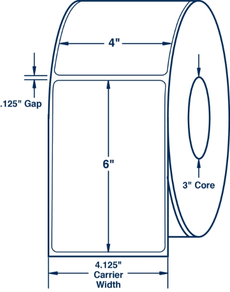 """Compulabel 620324 4"""" x 6"""" Non-Perforated Thermal Transfer Labels"""