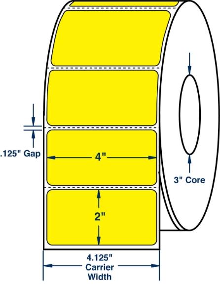 """Compulabel 640256 4"""" x 2"""" Pantone Yellow Thermal Transfer Labels"""