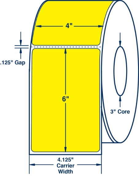 """Compulabel 610124 4"""" x 6"""" Pantone Yellow Thermal Transfer Labels"""