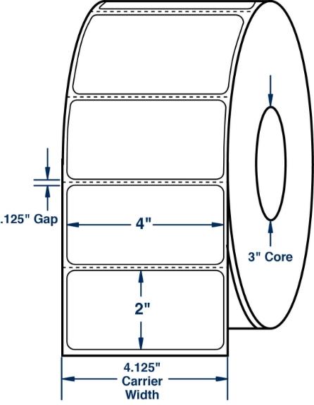 "Compulabel 640702 4"" x 2"" Aggressive Adhesive Thermal Transfer Labels"