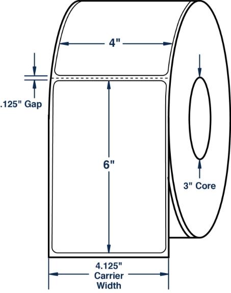 "Compulabel 640779 4"" x 6"" Aggressive Adhesive Thermal Transfer Labels"