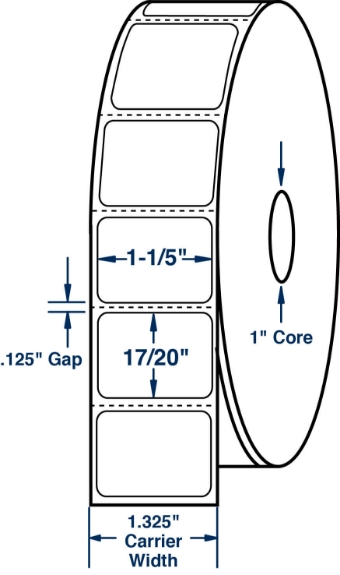 "Compulabel 530526 1-1/5"" x 17/20"" Desktop Direct Thermal Labels"