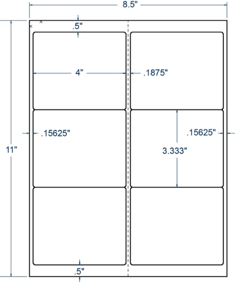 """Compulabel 331244 4"""" x 3-1/3"""" Sheeted Labels 250 Sheets"""