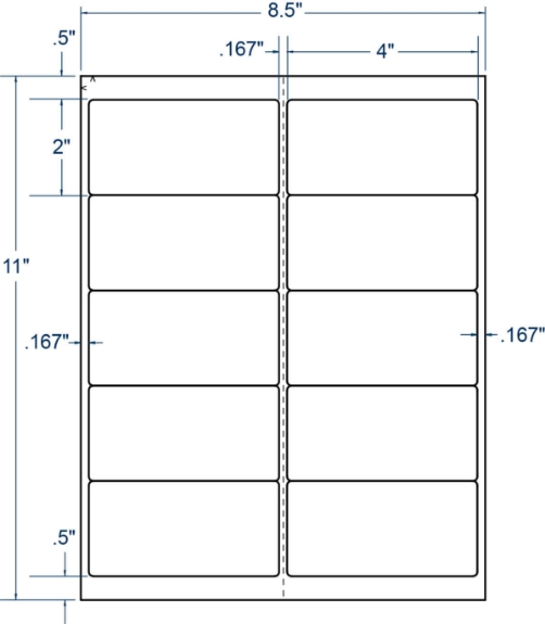 """Compulabel 331345 4"""" x 2"""" Removable Sheeted Labels 250 Sheets"""