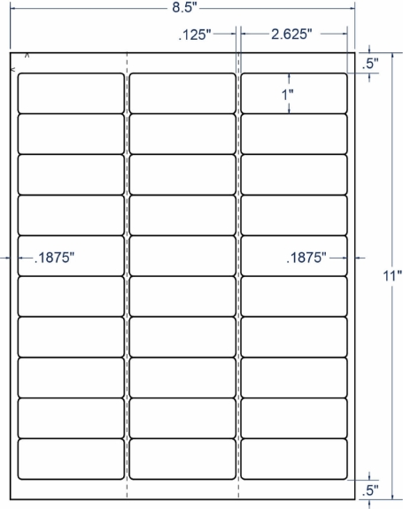 """Compulabel 331536 2-5/8"""" x 1"""" Weather Resistant Sheeted Labels 250 Sheets"""