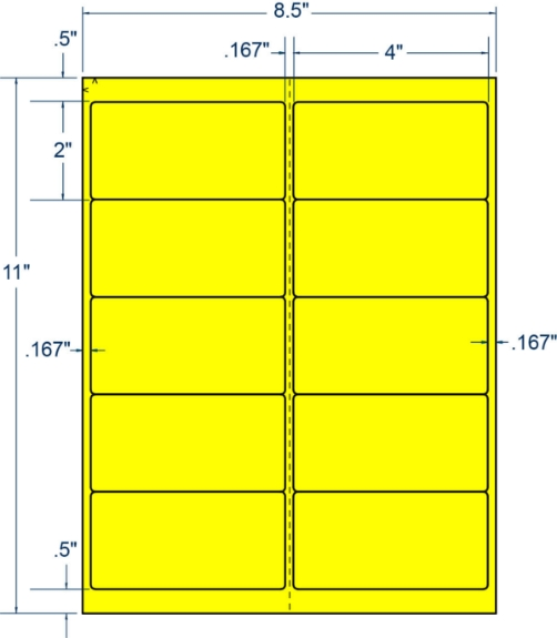"""Compulabel 312186 4"""" x 2"""" Fluorescent Yellow Sheeted Labels 100 Sheets"""
