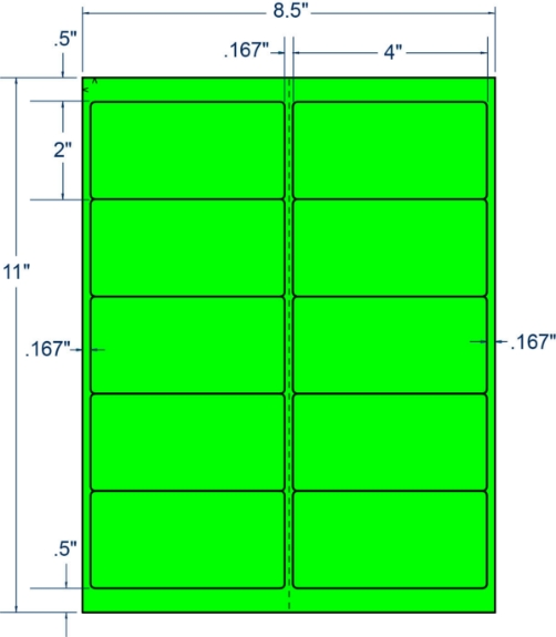 "Compulabel 312142 4"" x 2"" Fluorescent Green Sheeted Labels 100 Sheets"