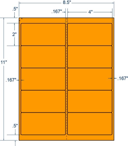 "Compulabel 312197 4"" x 2"" Fluorescent Orange Sheeted Labels 100 Sheets"