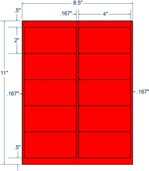 """Compulabel 312175 4"""" x 2"""" Fluorescent Red Sheeted Labels 100 Sheets"""