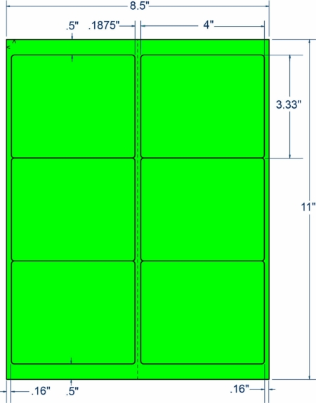 """Compulabel 312254 4"""" x 3-1/3"""" Fluorescent Green Sheeted Labels 100 Sheets"""