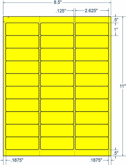 """Compulabel 330333 2-5/8"""" x 1"""" Fluorescent Yellow Sheeted Labels 250 Sheets"""