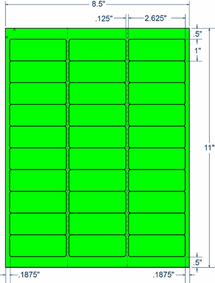 """Compulabel 330276 2-5/8"""" x 1"""" Fluorescent Green Sheeted Labels 250 Sheets"""