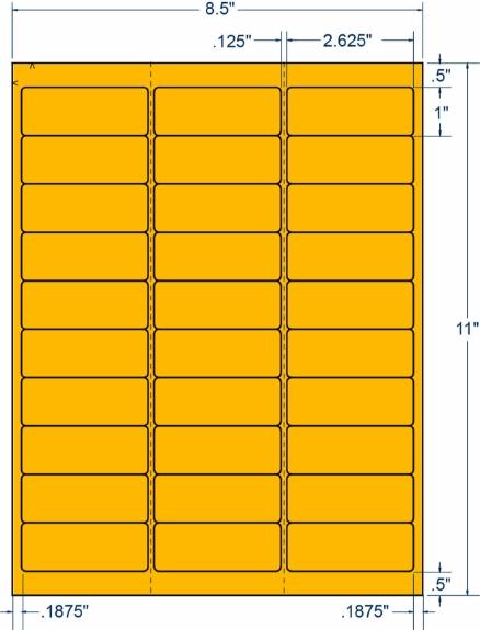 "Compulabel 330311 2-5/8"" x 1"" Fluorescent Orange Sheeted Labels 250 Sheets"