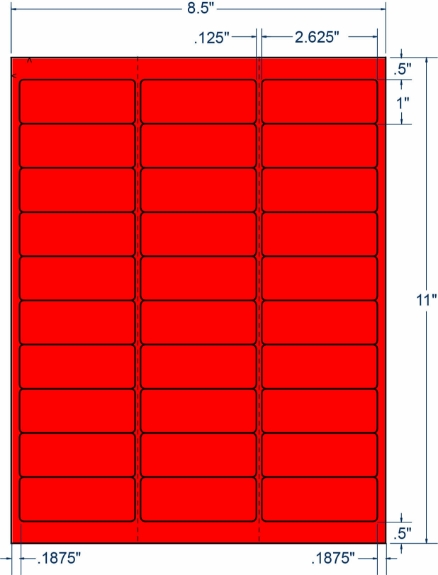 "Compulabel 330322 2-5/8"" x 1"" Fluorescent Red Sheeted Labels 250 Sheets"