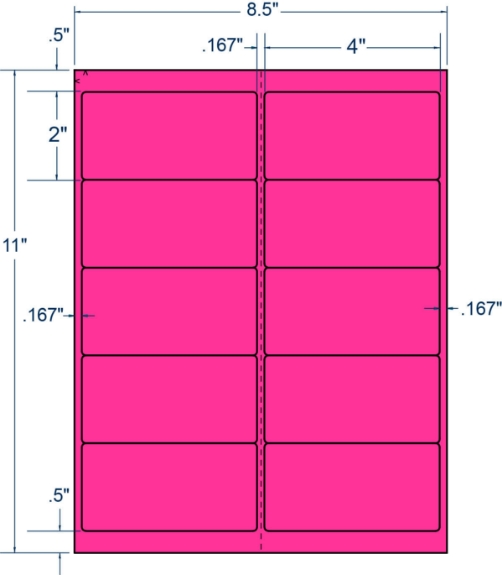 """Compulabel 331211 4"""" x 2"""" Fluorescent Pink Sheeted Labels 250 Sheets"""