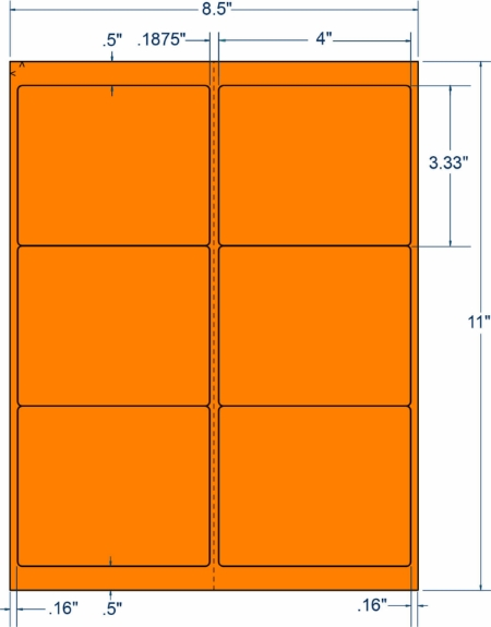 "Compulabel 331097 4"" x 3-1/3"" Fluorescent Orange Sheeted Labels 250 Sheets"