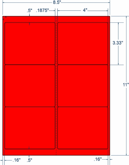 "Compulabel 331086 4"" x 3-1/3"" Fluorescent Red Sheeted Labels 250 Sheets"