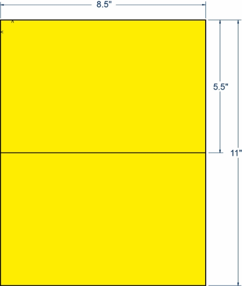"""Compulabel 318611 8-1/2"""" x 5-1/2"""" Fluorescent Yellow Sheeted Labels 250 Sheets"""