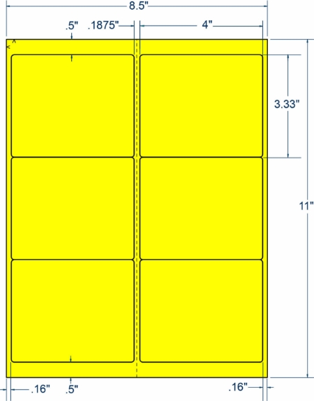 "Compulabel 340198 4"" x 3-1/3"" Fluorescent Yellow Sheeted Labels 1000 Sheets"