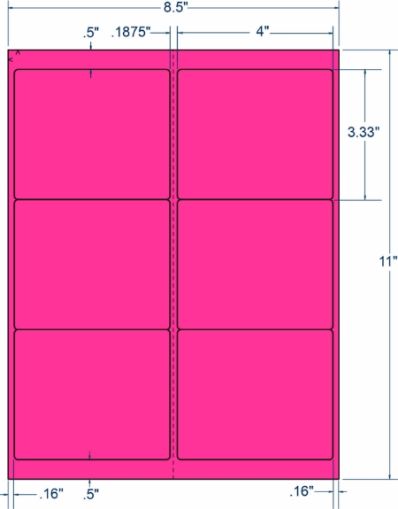 """Compulabel 340187 4"""" x 3-1/3"""" Fluorescent Pink Sheeted Labels 1000 Sheets"""