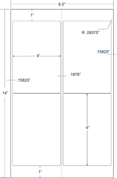 "Compulabel 332651 4"" x 6"" Legal Size Sheeted Labels 250 Sheets"