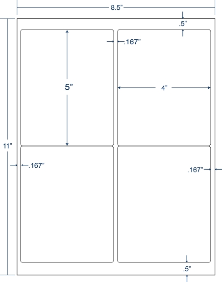 """Compulabel 331751 4"""" x 5"""" Sheeted Labels 250 Sheets"""