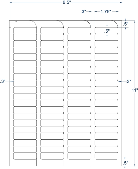 """Compulabel 330502 1-3/4"""" x 1/2"""" FABTab Sheeted Labels 250 Sheets"""