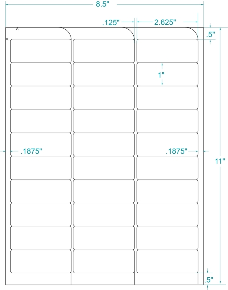"""Compulabel 331367 2-5/8"""" x 1"""" Removable FABTab Sheeted Labels 250 Sheets"""