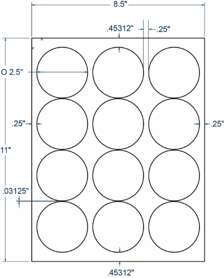 "Compulabel 330557 2-1/2"" Diameter Circular Labels 250 Sheets"