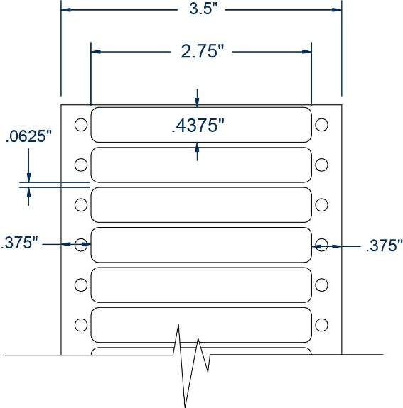 """Compulabel 110158 2-3/4"""" x 7/16"""" Pinfeed Labels"""