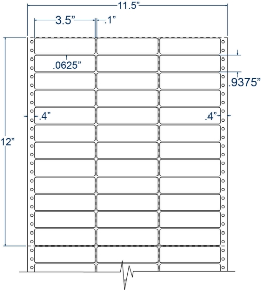 """Compulabel 130307 3-1/2"""" x 15/16"""" Pinfeed Labels"""