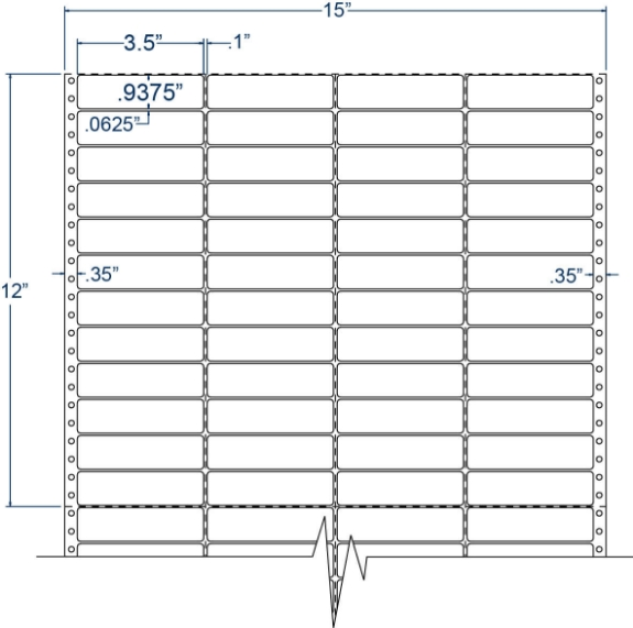 "Compulabel 140400 3-1/2"" x 15/16"" Pinfeed Labels"