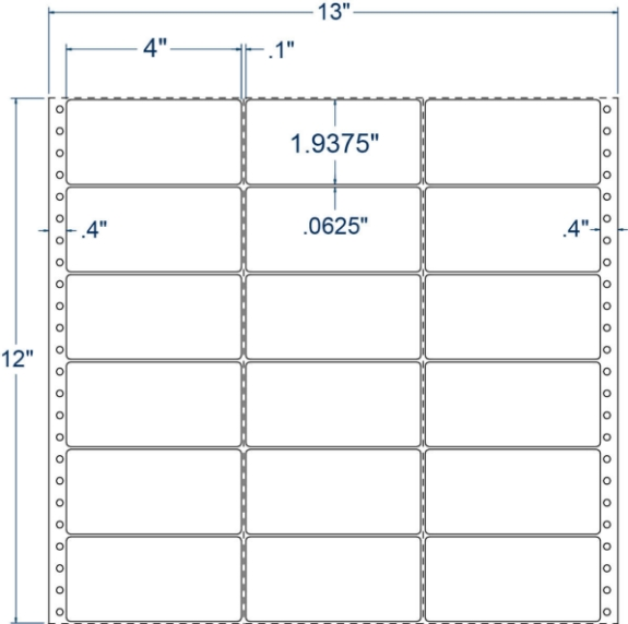 """Compulabel 130500 4"""" x 1-15/16"""" Pinfeed Labels"""