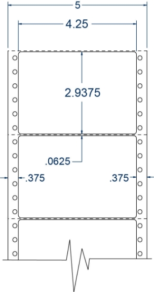 """Compulabel 111655 4-1/4"""" x 2-15/16"""" Pinfeed Labels"""