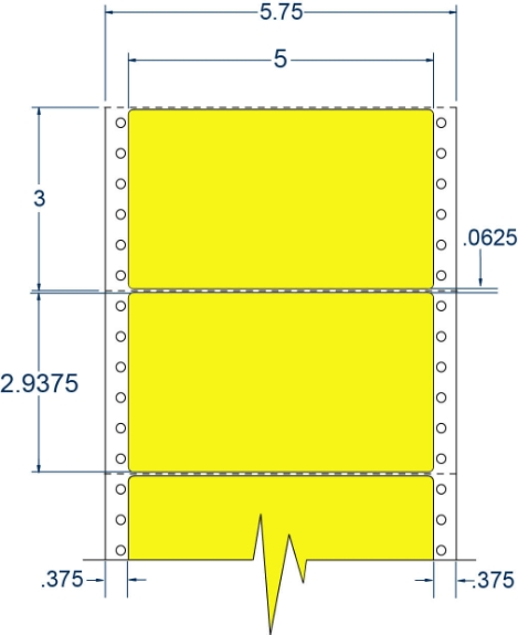 """Compulabel 162156 5"""" x 2-15/16"""" Fluorescent Yellow Pinfeed Labels"""