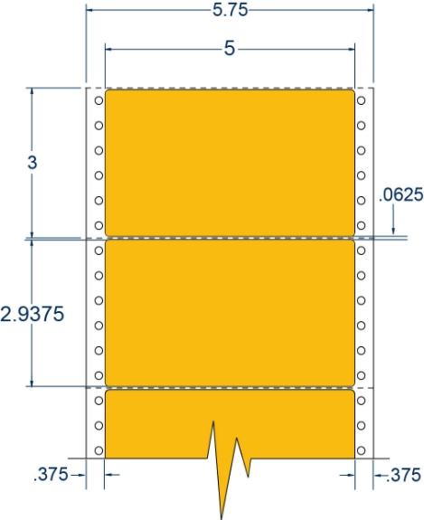 "Compulabel 162202 5"" x 2-15/16"" Fluorescent Orange Pinfeed Labels"