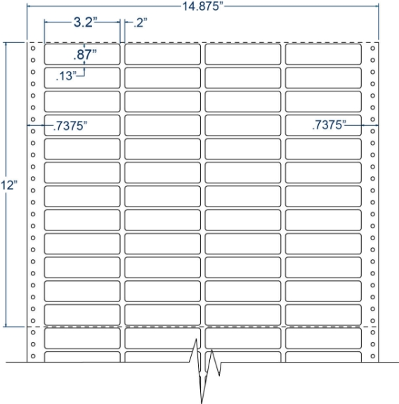"Compulabel 140758 3-1/5"" x 87/100"" Cheshire Mailing Pinfeed Labels"