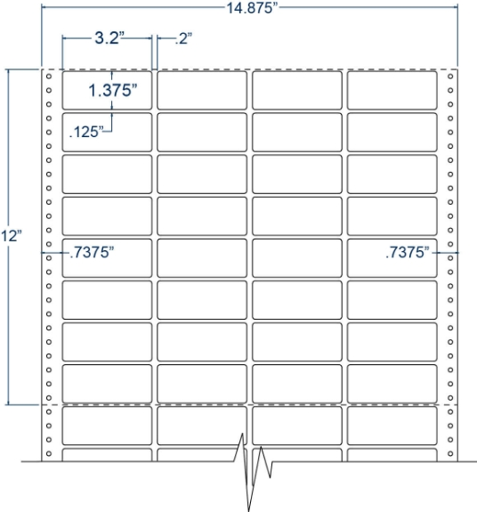 """Compulabel 140850 3-1/5"""" x 1-3/8"""" Cheshire Mailing Pinfeed Labels"""