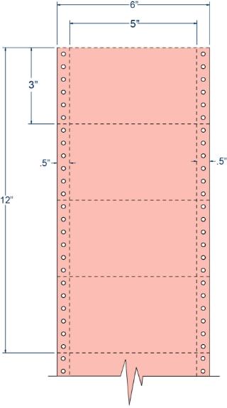 "Compulabel 210407 5"" x 3"" Salmon Pinfeed Cards"