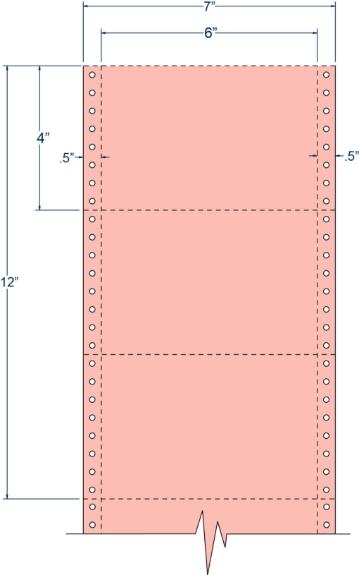 "Compulabel 211105 6"" x 4"" Salmon Pinfeed Cards"