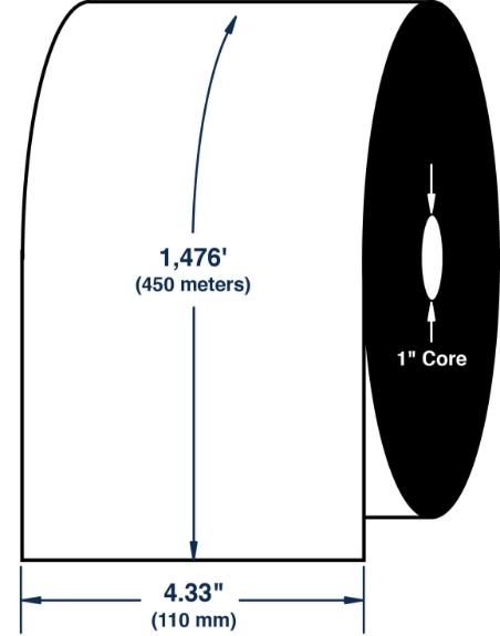 "Compulabel 710166 4.33"" x 1476' Zebra Wax Ribbon"