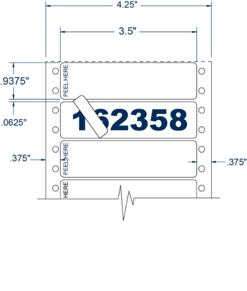 """Compulabel 162358 3-1/2"""" x 15/16"""" Duo-Image Pinfeed Labels"""