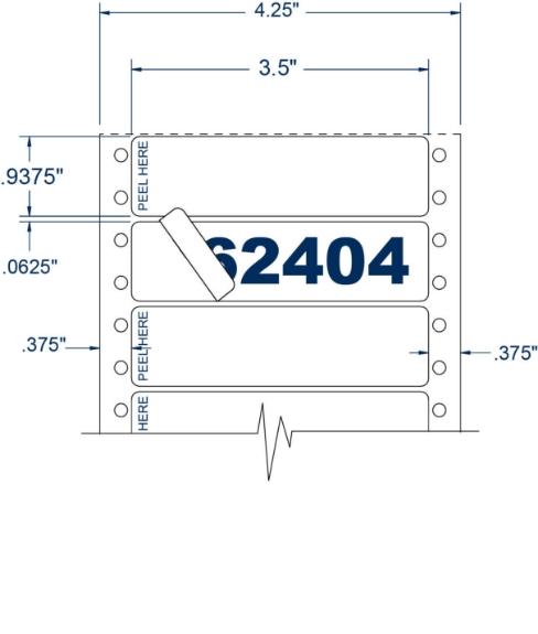 "Compulabel 162404 3-1/2"" x 15/16"" Piggyback Pinfeed Labels"