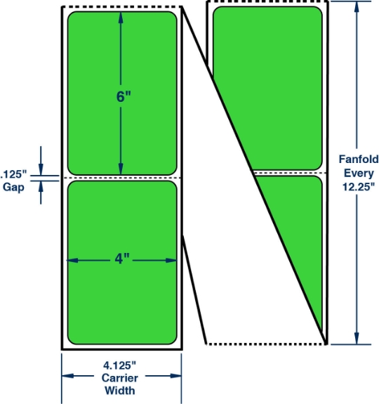 """Compulabel 520018 4"""" x 6"""" Fluorescent Green Fanfold Direct Thermal Labels"""