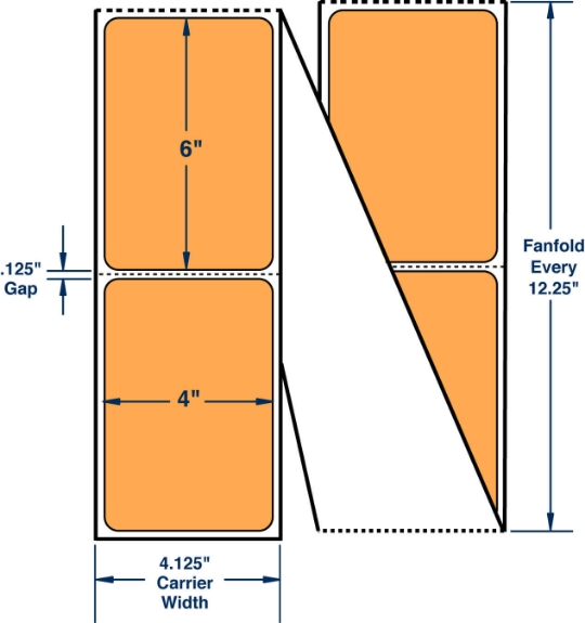 "Compulabel 520040 4"" x 6"" Fluorescent Orange Fanfold Direct Thermal Labels"