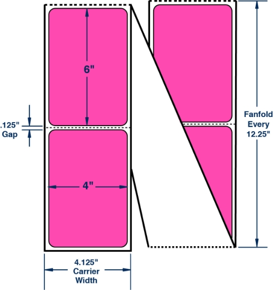 "Compulabel 520075 4"" x 6"" Fluorescent Pink Fanfold Direct Thermal Labels"