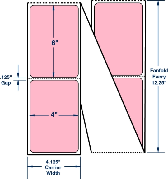 """Compulabel 520097 4"""" x 6"""" Pastel Pink Fanfold Direct Thermal Labels"""